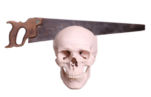 old saw cutting in skull