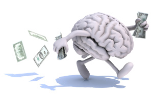 brain with arms and legs run away with money